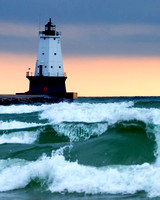 Big Waves at Ludington Light