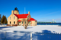 Winter at Old Mackinac Point Lighthouse in Mackinaw city