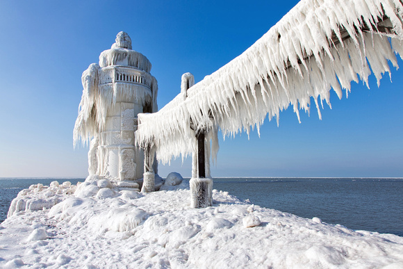 St. Joseph Michigan North Pier in Winter