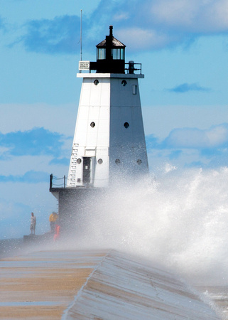 Big Splash at Ludington Lighthouse