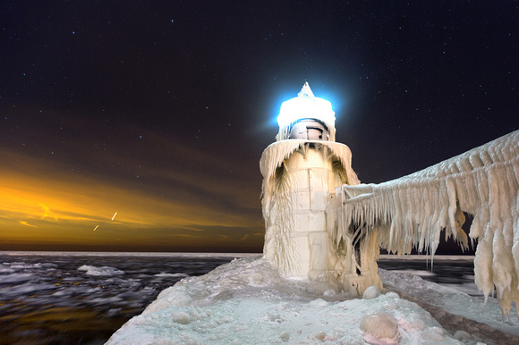 Frozen Lighthouse on Pier in Winter - St. Joseph, Michigan