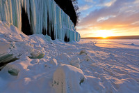Sunrise at Grand Island Ice Curtains - Munising, Michigan