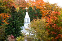 Maple City Church Steeple in Autumn