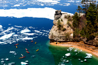 Kayaks and Ice Floes at Miners Castle - Pictured Rocks National Lakeshore in the Upper Peninsula of Michigan