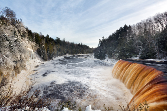 Tahqauamenon Falls and Tahquamenon River in Winter